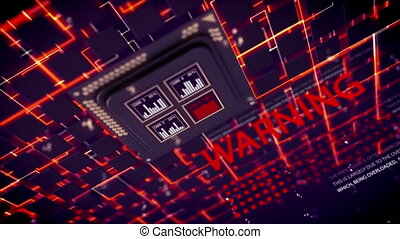 """Square CPU shimmering in black background"" - ""Holographic..."