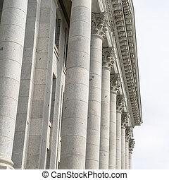 Square crop Corinthian stone columns at Utah State Capital Building facade in Salt Lake City