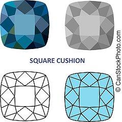 Square cushion gem cut