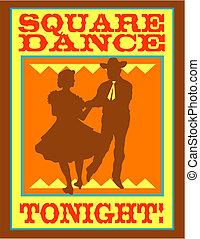 Square dance or polka dancing sign clip art