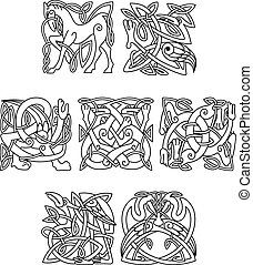 Square decorative celtic motifs of animals and birds -...