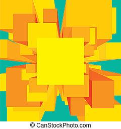 Square digital explosion background frame