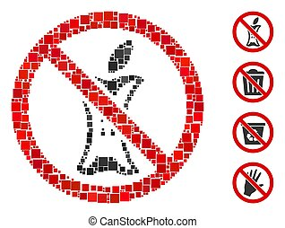 Square Do Not Litter Icon Vector Mosaic