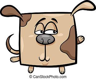 square dog cartoon illustration