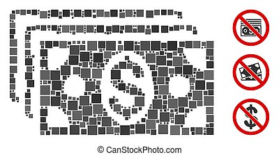 Square Dollar Banknotes Icon Vector Mosaic