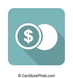 Square dollar coin icon