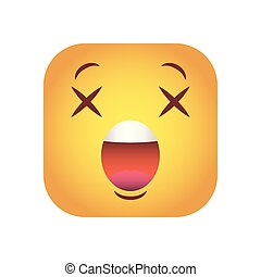 square emoticon closed eyes face character icon