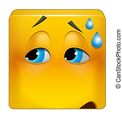 Square emoticon embarrassing situation - Illustration on...