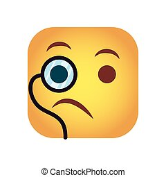 square emoticon with monocular face character icon vector ...