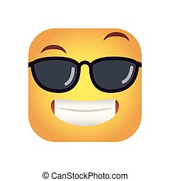 square emoticon with sunglasses face character icon