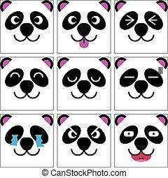 Square emotion face of Black and white Panda vector with isolated