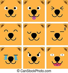 Square emotion face of Brown Bear vector with isolated