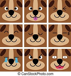 Square emotion face of Brown Dog vector with isolated