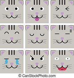 Square emotion face of cat vector with isolated