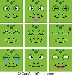 Square emotion face of Green Frog vector with isolated