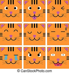 Square emotion face of Orange Tiger vector with isolated