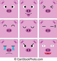 Square emotion face of Pink Pig vector with isolated