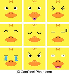 Square emotion face of yellow duck vector with isolated