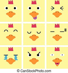 Square emotion face of Yellow Hen vector with isolated