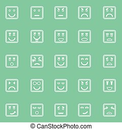 Square face line icons on green background