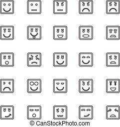 Square face line icons on white background