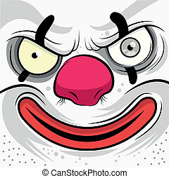 Square Faced Evil Clown - Vector illustration
