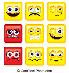 Square shaped yellow Smileys, vector icon set