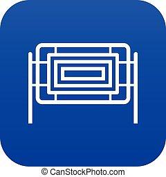 Square fence icon digital blue