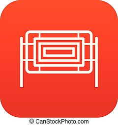 Square fence icon digital red