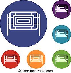 Square fence icons set