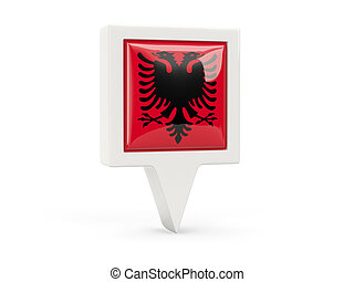 Square flag icon of albania isolated on white