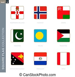 Square flags collection of the world.