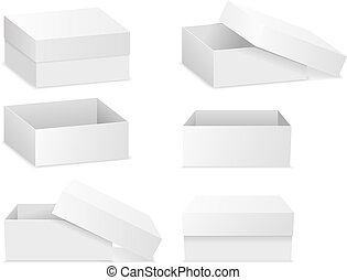 white square flat empty 3d boxes isolated on white vector template