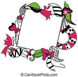 Square Floral Frame - A Pink and Black Series: Square