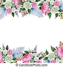 square., flower., flowers., ボーダー, 花の花束, 植物, フレーム, ピンク, 装飾