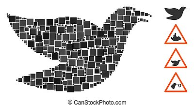 Square Flying Bird Icon Vector Collage