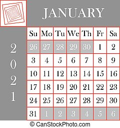 Square format 2021 Calendar January Gray White Background ...