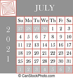 Square format 2021 Calendar July gray white background ...