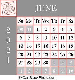 Square format 2021 Calendar June gray white background ...