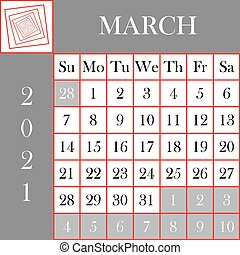 Square format 2021 Calendar March gray white background ...