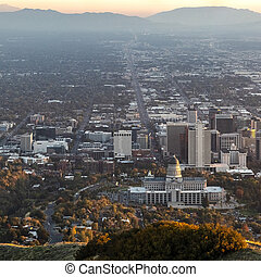Square frame Aerial panoramic view of Salt Lake City Utah USA