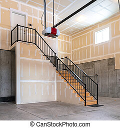 Square frame Large open plan concrete basement interior garage