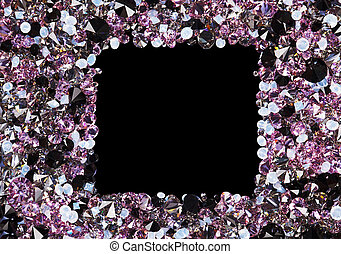 Square frame made from many small purple diamonds, with copyspace on black