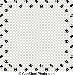 Square frame made of black animal paw prints on transparent background.