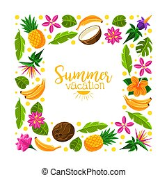 Square frame made of exotic fruits. Vector illustration.