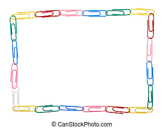 Square frame made of multiple paper clips