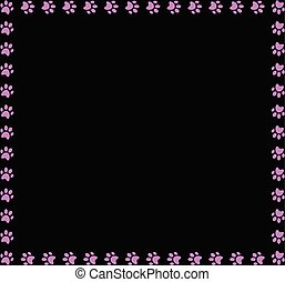 Square frame made of pink animal paw prints on black background.