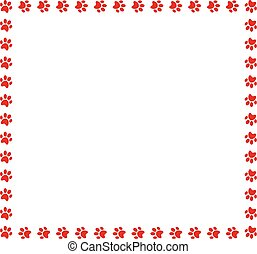 Square frame made of red animal paw prints on white background.