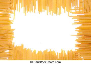 square frame made of yellow macaroni