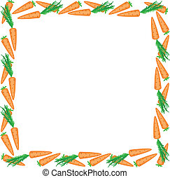 frame of carrots - square frame of carrots on a white...